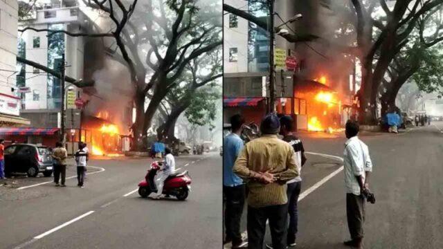 Firemen douse blaze at Gandhi Bazaar hotel