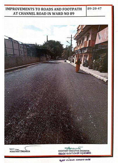 Job code 089-20-000047 -- Improvements to Roads and Footpath at Channel Road in Ward No.89 (Work after execution)